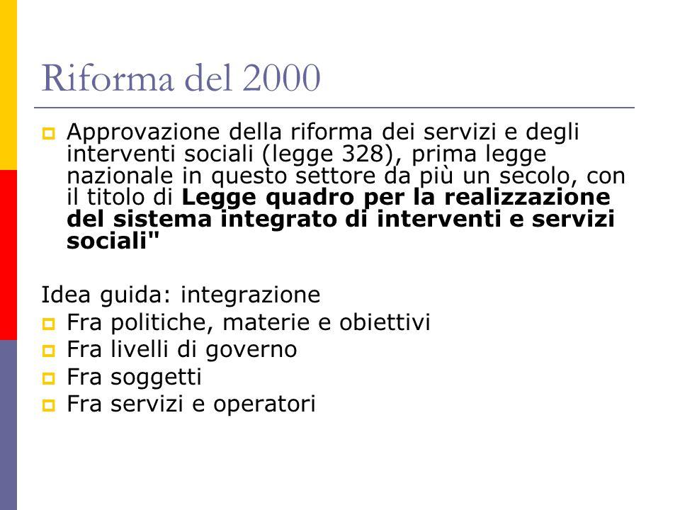 Riforma del 2000  Approvazione della riforma dei servizi e degli interventi sociali (legge 328), prima legge nazionale in questo settore da più un se
