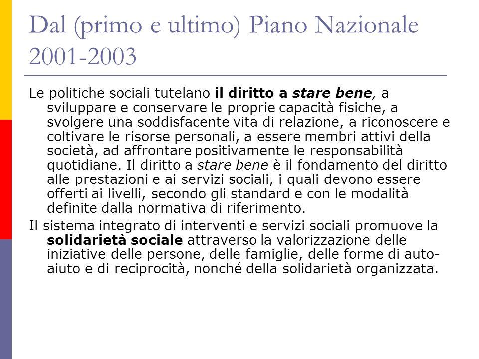 Dal (primo e ultimo) Piano Nazionale 2001-2003 Le politiche sociali tutelano il diritto a stare bene, a sviluppare e conservare le proprie capacità fi