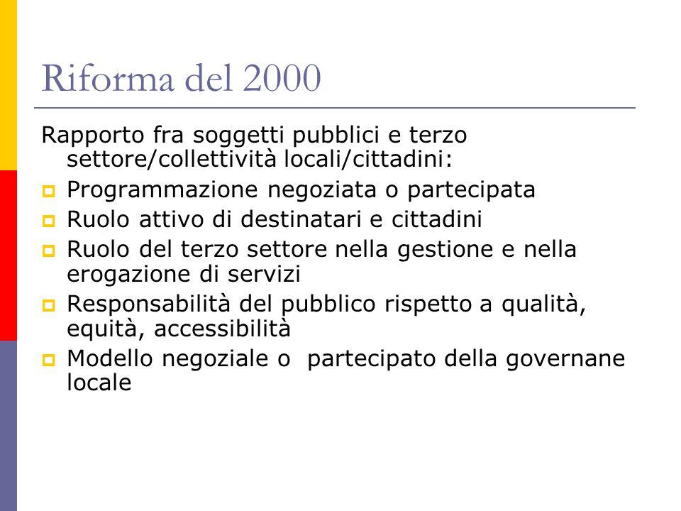 Riforma del 2000 Rapporto fra soggetti pubblici e terzo settore/collettività locali/cittadini:  Programmazione negoziata o partecipata  Ruolo attivo
