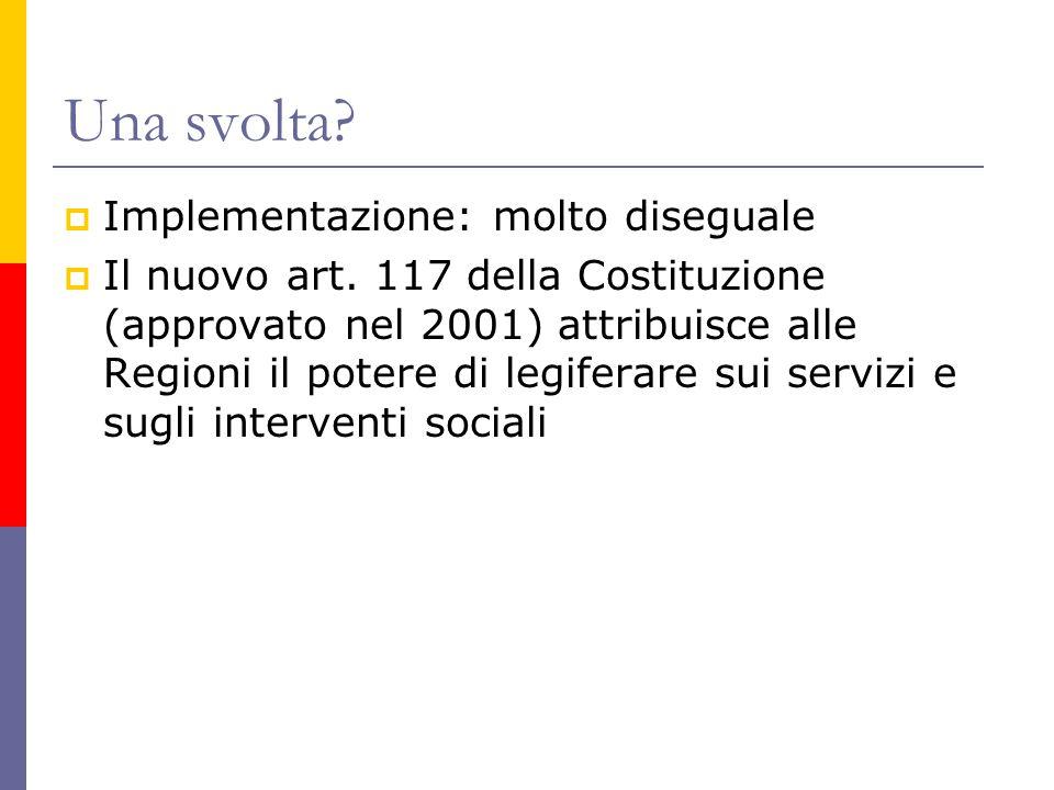 Una svolta?  Implementazione: molto diseguale  Il nuovo art. 117 della Costituzione (approvato nel 2001) attribuisce alle Regioni il potere di legif