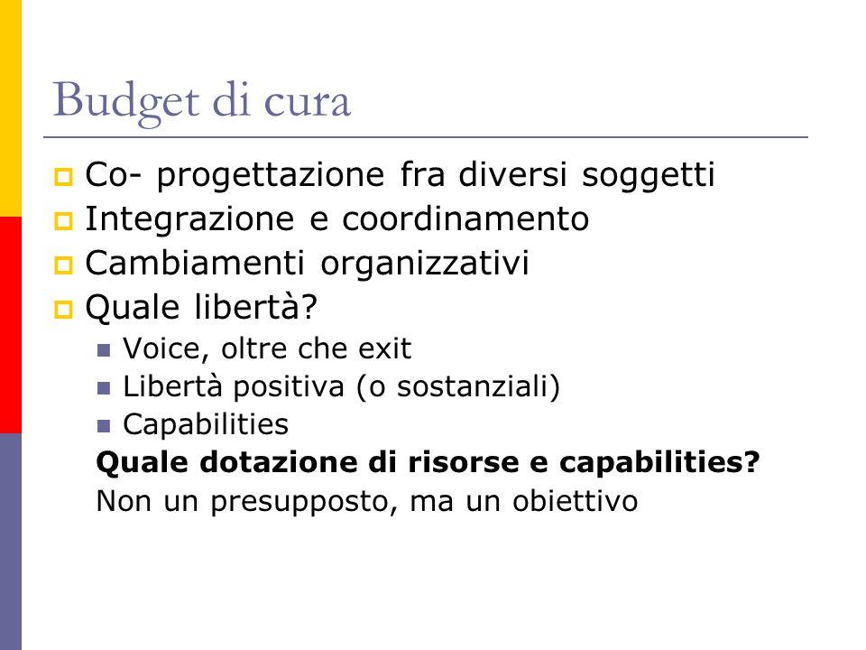 Budget di cura  Co- progettazione fra diversi soggetti  Integrazione e coordinamento  Cambiamenti organizzativi  Quale libertà.