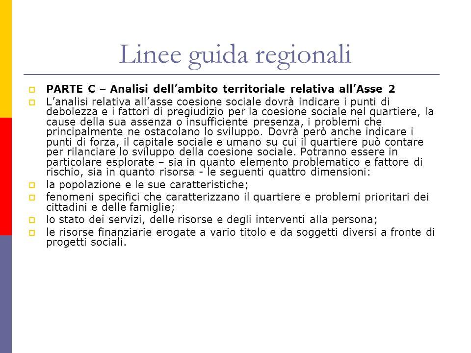 Linee guida regionali  PARTE C – Analisi dell'ambito territoriale relativa all'Asse 2  L'analisi relativa all'asse coesione sociale dovrà indicare i