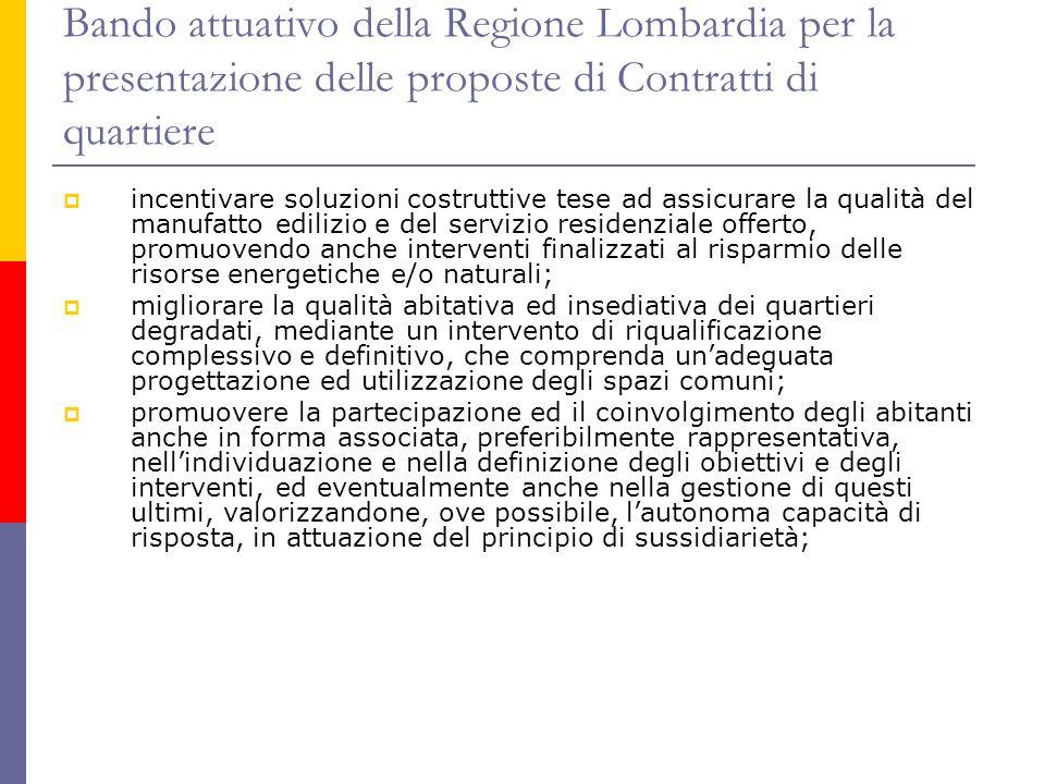 Bando attuativo della Regione Lombardia per la presentazione delle proposte di Contratti di quartiere  incentivare soluzioni costruttive tese ad assi
