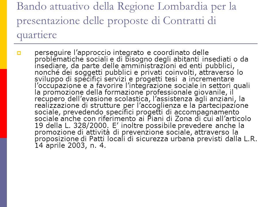 Bando attuativo della Regione Lombardia per la presentazione delle proposte di Contratti di quartiere  perseguire l'approccio integrato e coordinato