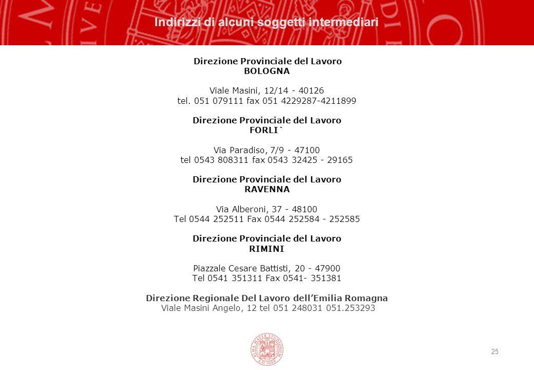 25 Indirizzi di alcuni soggetti intermediari Direzione Provinciale del Lavoro BOLOGNA Viale Masini, 12/14 - 40126 tel.