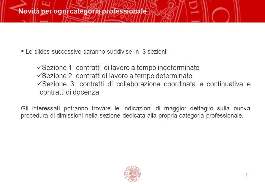 18 Procedura per la presentazione delle dimissioni VALIDITA' DELLE DIMISSIONI Le dimissioni si considerano presentate al datore di lavoro mediante la presentazione del modello MDV.