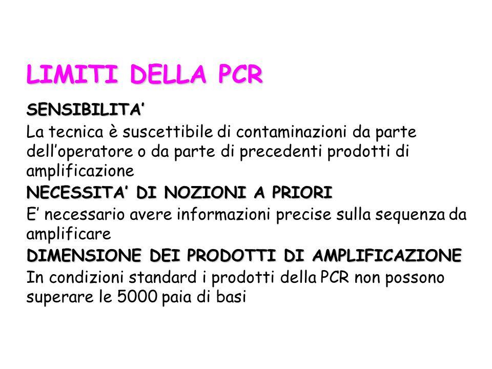 LIMITI DELLA PCR SENSIBILITA' La tecnica è suscettibile di contaminazioni da parte dell'operatore o da parte di precedenti prodotti di amplificazione