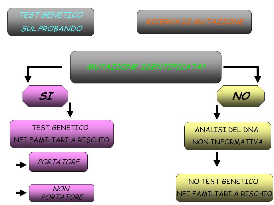 TEST GENETICO SUL PROBANDO MUTAZIONE IDENTIFICATA? SINO TEST GENETICO NEI FAMILIARI A RISCHIO ANALISI DEL DNA NON INFORMATIVA NO TEST GENETICO NEI FAM
