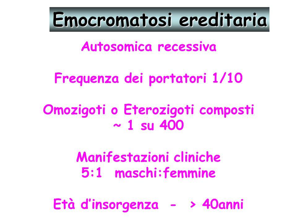 Autosomica recessiva Frequenza dei portatori 1/10 Omozigoti o Eterozigoti composti ~ 1 su 400 Manifestazioni cliniche 5:1 maschi:femmine Età d'insorge