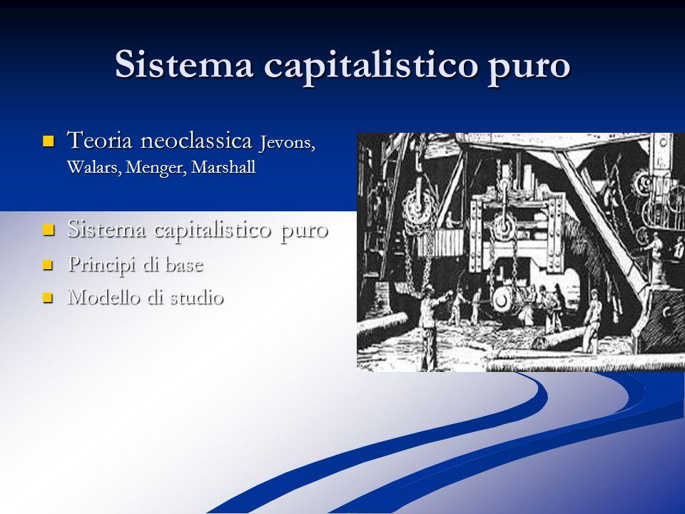 Sistema capitalistico puro Teoria neoclassica Jevons, Walars, Menger, Marshall Teoria neoclassica Jevons, Walars, Menger, Marshall Sistema capitalistico puro Sistema capitalistico puro Principi di base Principi di base Modello di studio Modello di studio