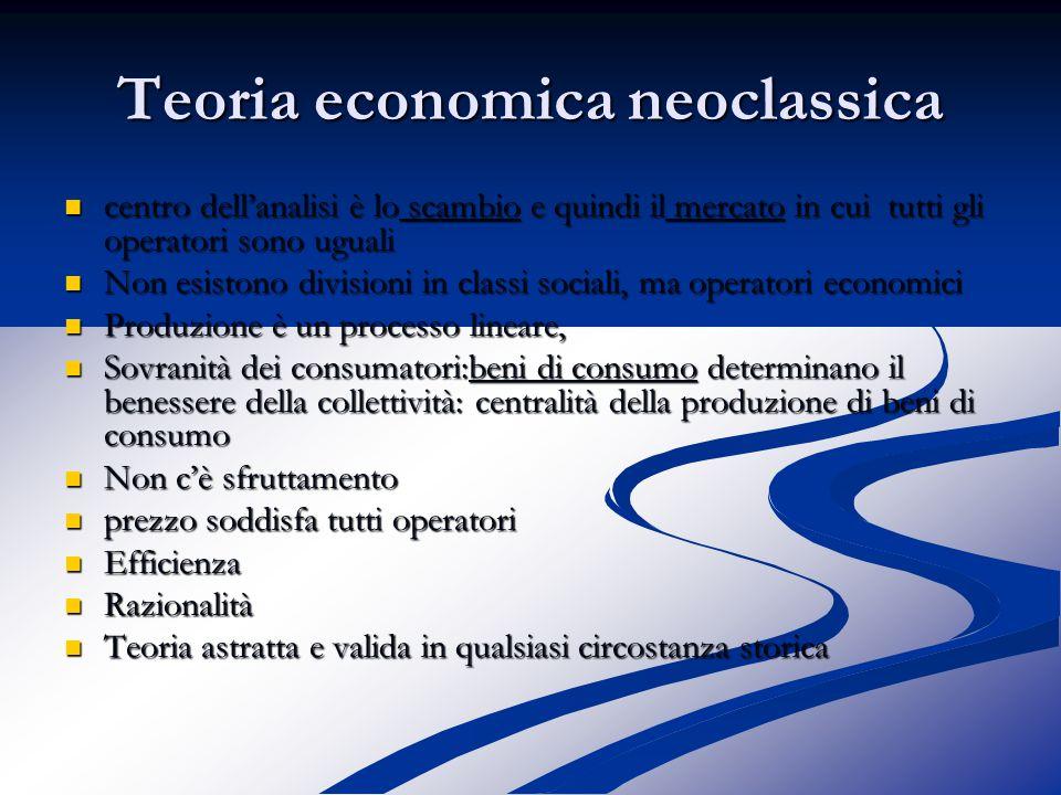 Teoria economica neoclassica centro dell'analisi è lo scambio e quindi il mercato in cui tutti gli operatori sono uguali centro dell'analisi è lo scambio e quindi il mercato in cui tutti gli operatori sono uguali Non esistono divisioni in classi sociali, ma operatori economici Non esistono divisioni in classi sociali, ma operatori economici Produzione è un processo lineare, Produzione è un processo lineare, Sovranità dei consumatori:beni di consumo determinano il benessere della collettività: centralità della produzione di beni di consumo Sovranità dei consumatori:beni di consumo determinano il benessere della collettività: centralità della produzione di beni di consumo Non c'è sfruttamento Non c'è sfruttamento prezzo soddisfa tutti operatori prezzo soddisfa tutti operatori Efficienza Efficienza Razionalità Razionalità Teoria astratta e valida in qualsiasi circostanza storica Teoria astratta e valida in qualsiasi circostanza storica