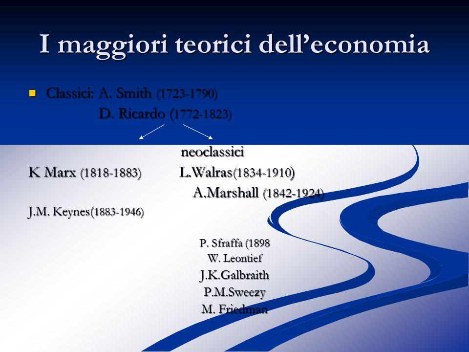 I maggiori teorici dell'economia Classici: A. Smith (1723-1790) Classici: A.
