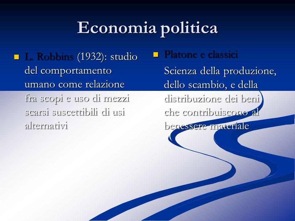 Economia politica scienza : ricerca di interpretazioni della realtà scienza : ricerca di interpretazioni della realtà Con un proprio oggetto di indagine e un proprio metodo Con un proprio oggetto di indagine e un proprio metodo