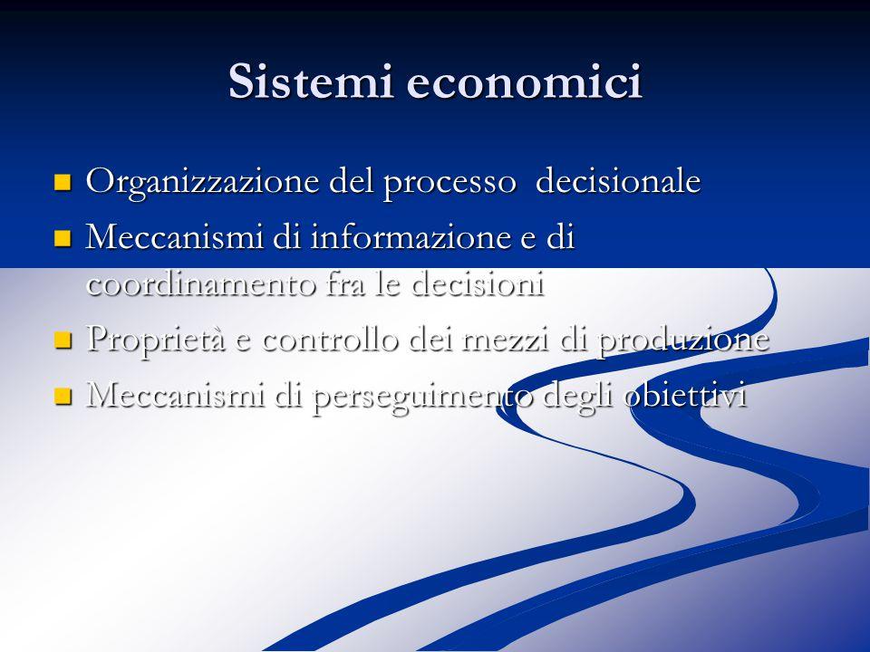 Sistemi economici Organizzazione del processo decisionale Organizzazione del processo decisionale Meccanismi di informazione e di coordinamento fra le decisioni Meccanismi di informazione e di coordinamento fra le decisioni Proprietà e controllo dei mezzi di produzione Proprietà e controllo dei mezzi di produzione Meccanismi di perseguimento degli obiettivi Meccanismi di perseguimento degli obiettivi