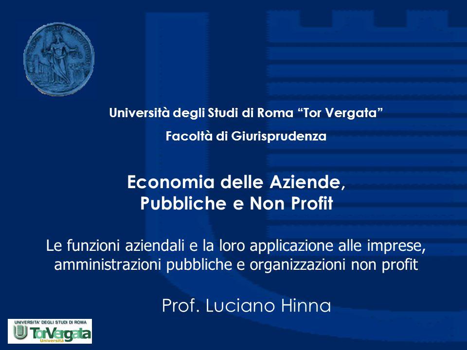 Economia delle Aziende, Pubbliche e Non Profit Le funzioni aziendali e la loro applicazione alle imprese, amministrazioni pubbliche e organizzazioni n