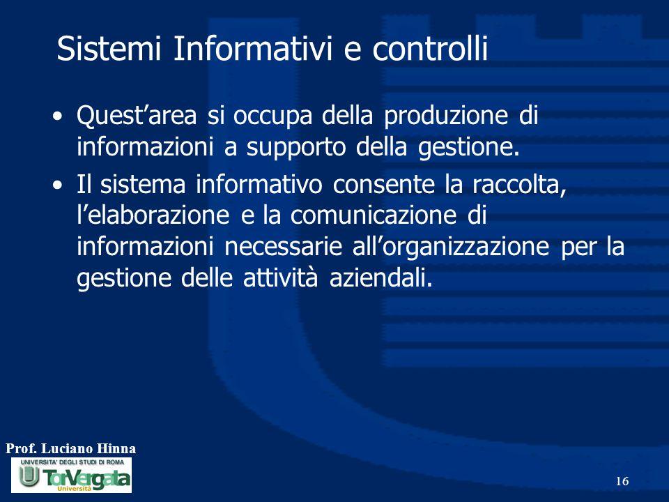 Prof. Luciano Hinna 16 Sistemi Informativi e controlli Quest'area si occupa della produzione di informazioni a supporto della gestione. Il sistema inf