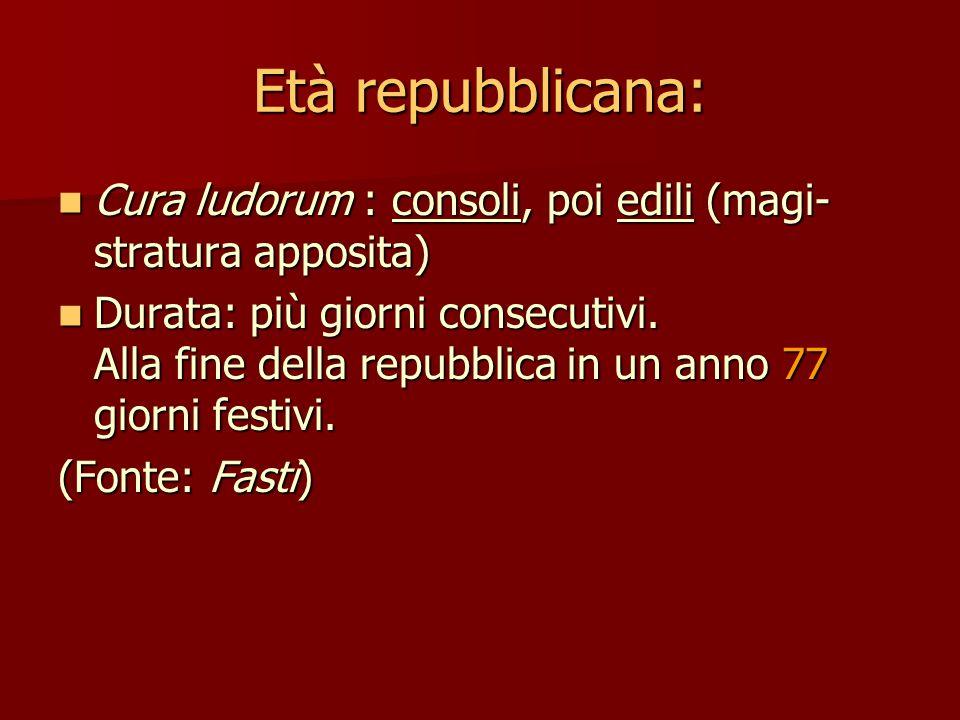 Età imperiale: Cura ludorum : pretori, poi questori (con contributo dell'imperatore) Cura ludorum : pretori, poi questori (con contributo dell'imperatore) Durata: più giorni consecutivi.