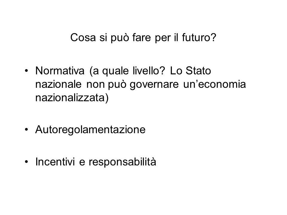 Cosa si può fare per il futuro? Normativa (a quale livello? Lo Stato nazionale non può governare un'economia nazionalizzata) Autoregolamentazione Ince
