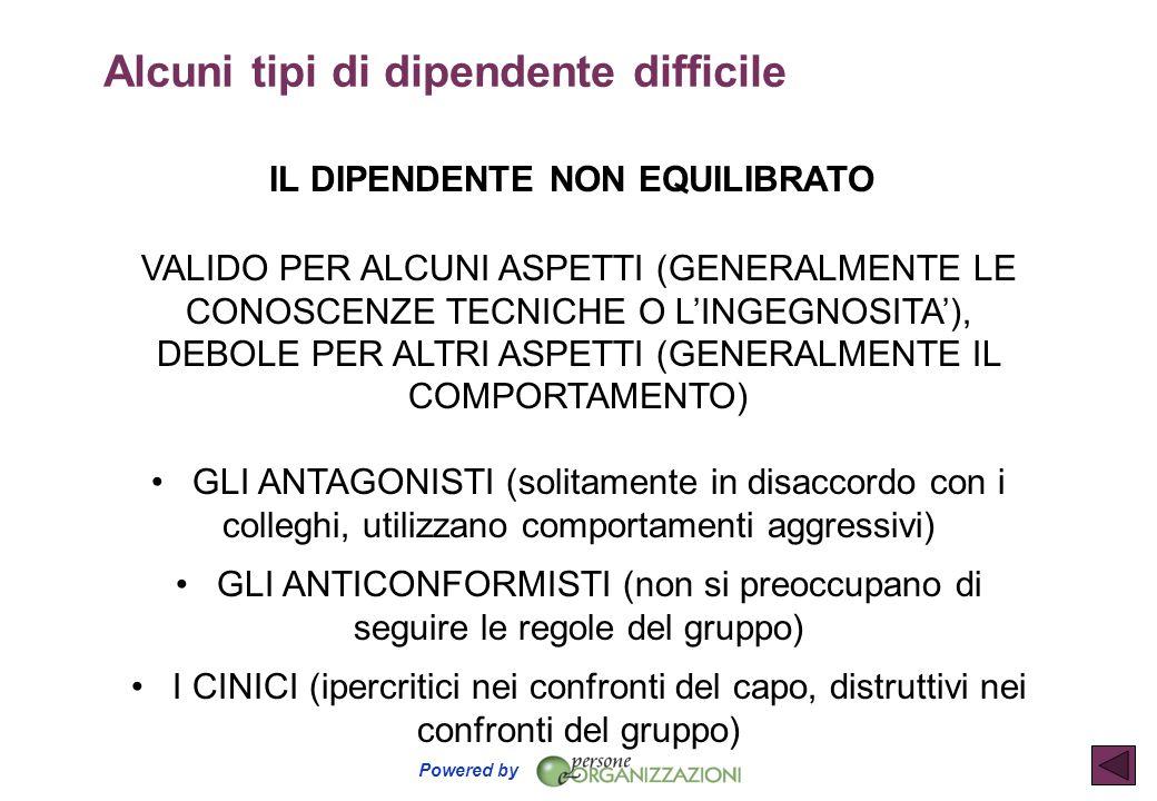 Powered by IL DIPENDENTE NON EQUILIBRATO VALIDO PER ALCUNI ASPETTI (GENERALMENTE LE CONOSCENZE TECNICHE O L'INGEGNOSITA'), DEBOLE PER ALTRI ASPETTI (G