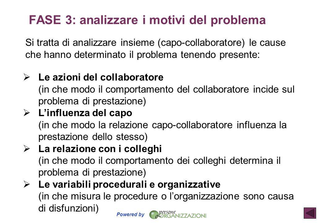 Powered by Si tratta di analizzare insieme (capo-collaboratore) le cause che hanno determinato il problema tenendo presente:  Le azioni del collabora