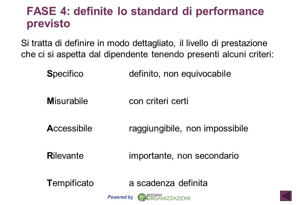 Powered by Si tratta di definire in modo dettagliato, il livello di prestazione che ci si aspetta dal dipendente tenendo presenti alcuni criteri: Spec
