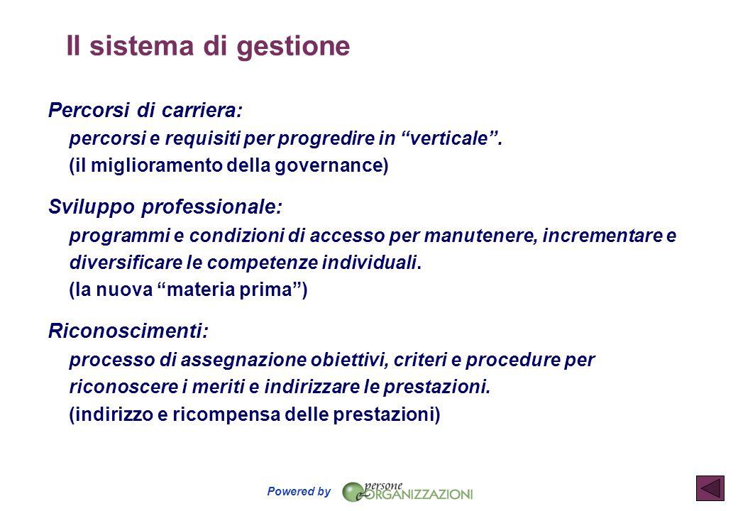 """Powered by Il sistema di gestione Percorsi di carriera: percorsi e requisiti per progredire in """"verticale"""". (il miglioramento della governance) Svilup"""