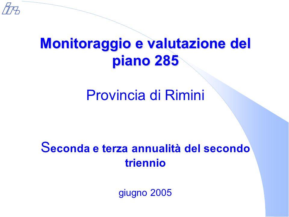 Monitoraggio e valutazione del piano 285 Monitoraggio e valutazione del piano 285 Provincia di Rimini S econda e terza annualità del secondo triennio giugno 2005