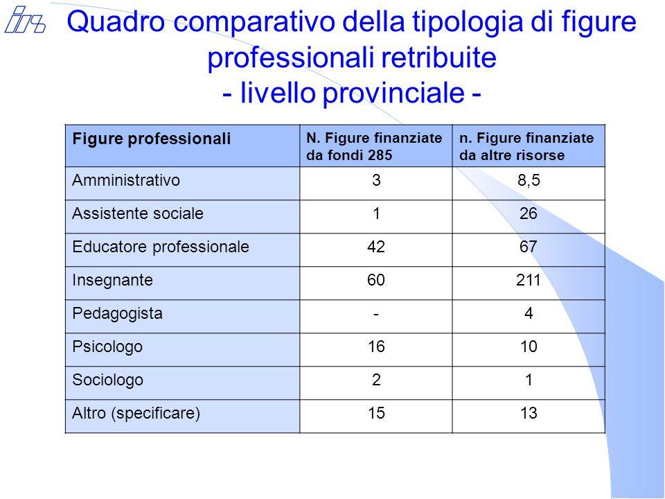 Quadro comparativo della tipologia di figure professionali retribuite - livello provinciale - Figure professionali N.