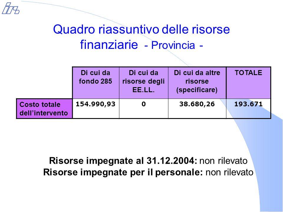 Quadro riassuntivo delle risorse finanziarie - Provincia - Di cui da fondo 285 Di cui da risorse degli EE.LL.