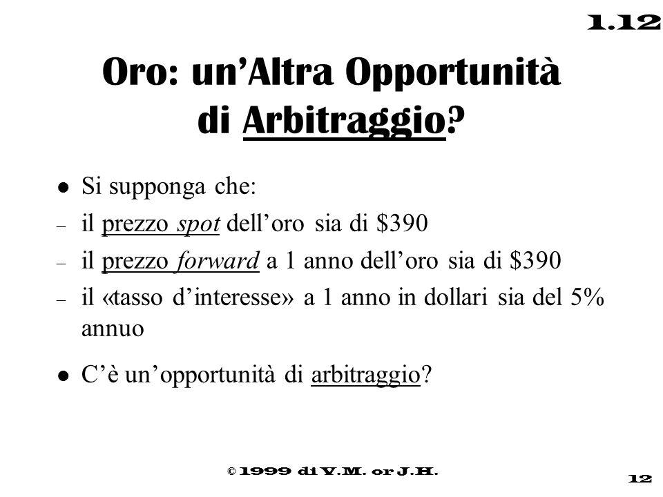 © 1999 di V.M. or J.H. 12 1.12 Oro: un'Altra Opportunità di Arbitraggio? l Si supponga che: – il prezzo spot dell'oro sia di $390 – il prezzo forward