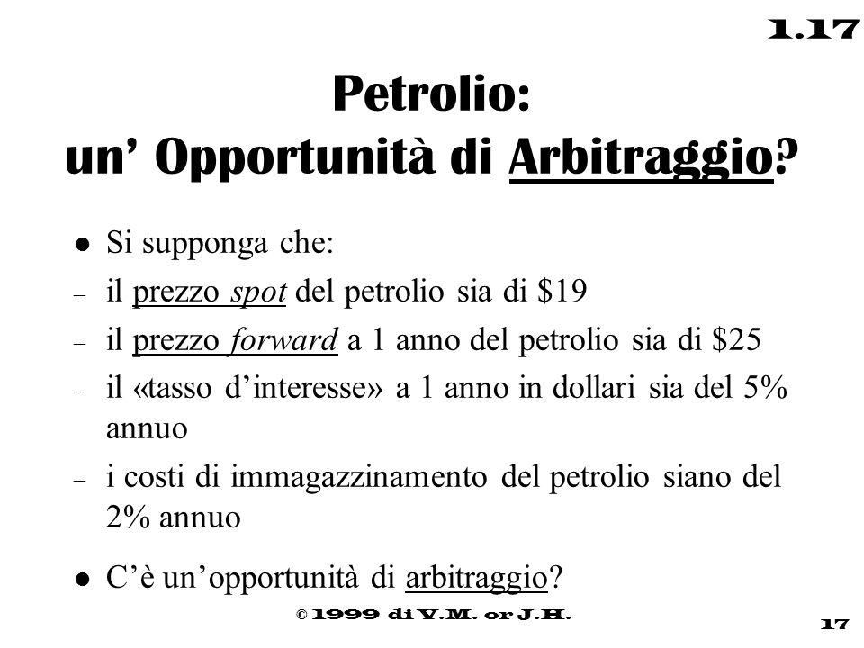 © 1999 di V.M. or J.H. 17 1.17 Petrolio: un' Opportunità di Arbitraggio? l Si supponga che: – il prezzo spot del petrolio sia di $19 – il prezzo forwa