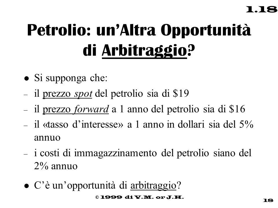 © 1999 di V.M. or J.H. 18 1.18 Petrolio: un'Altra Opportunità di Arbitraggio? l Si supponga che: – il prezzo spot del petrolio sia di $19 – il prezzo