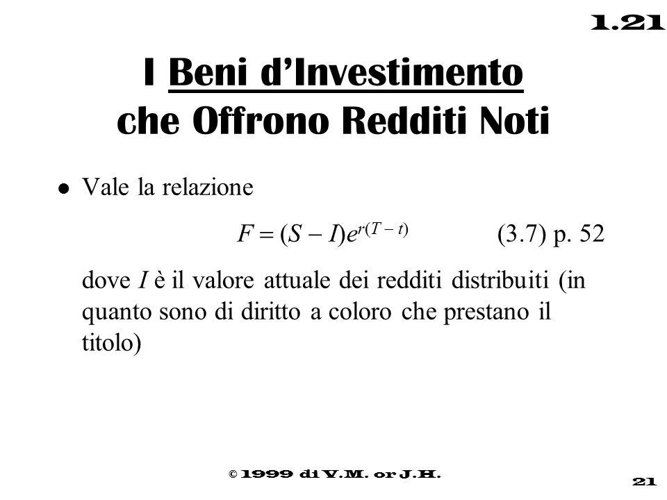 © 1999 di V.M. or J.H. 21 1.21 I Beni d'Investimento che Offrono Redditi Noti l Vale la relazione  F   S  I  e r  T  t  (3.7) p. 52 dove I è i