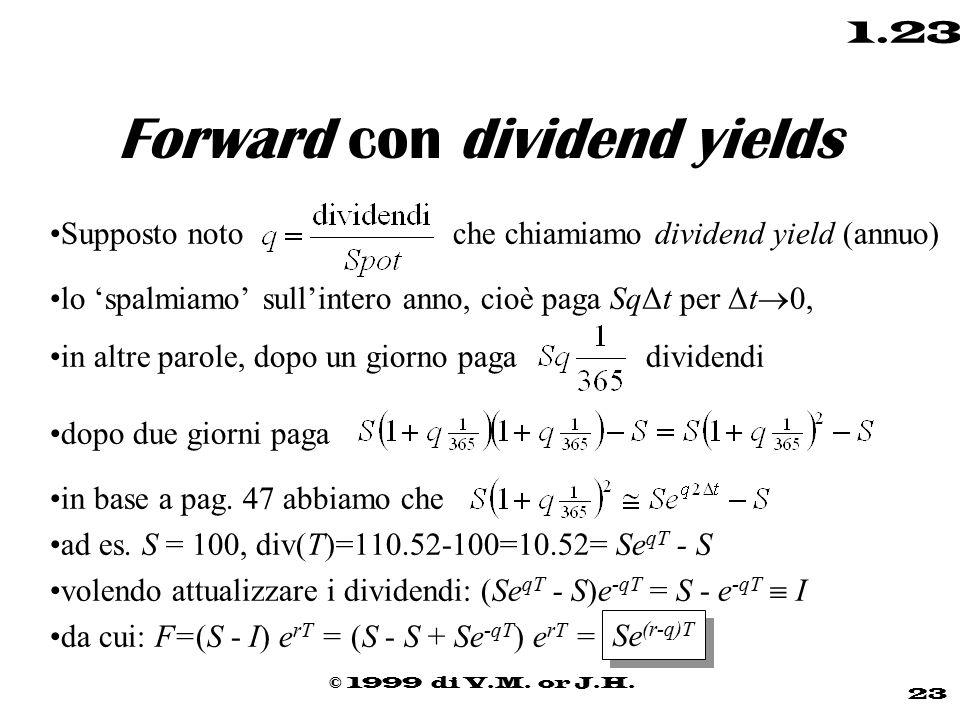 © 1999 di V.M. or J.H. 23 1.23 Forward con dividend yields Supposto noto che chiamiamo dividend yield (annuo) lo 'spalmiamo' sull'intero anno, cioè pa