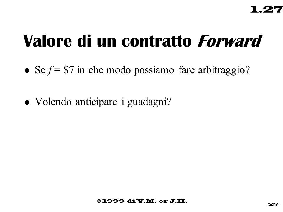 © 1999 di V.M. or J.H. 27 1.27 Valore di un contratto Forward l Se f = $7 in che modo possiamo fare arbitraggio? l Volendo anticipare i guadagni?