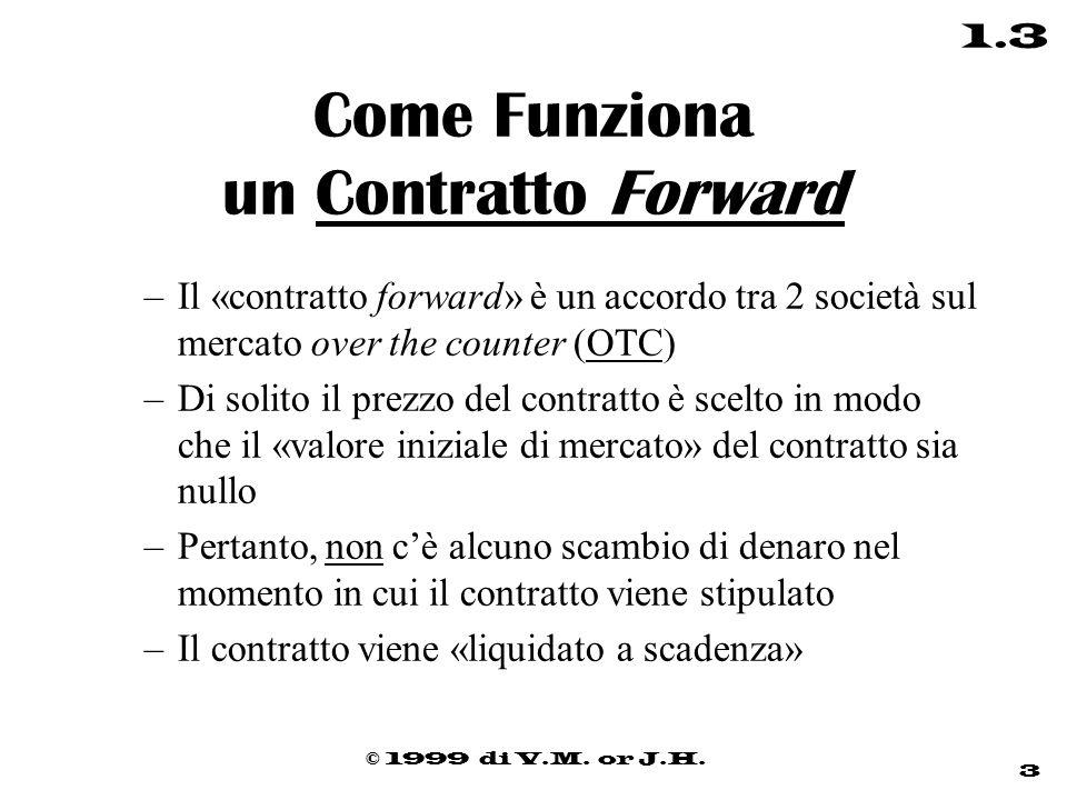 © 1999 di V.M. or J.H. 3 1.3 Come Funziona un Contratto Forward –Il «contratto forward» è un accordo tra 2 società sul mercato over the counter (OTC)