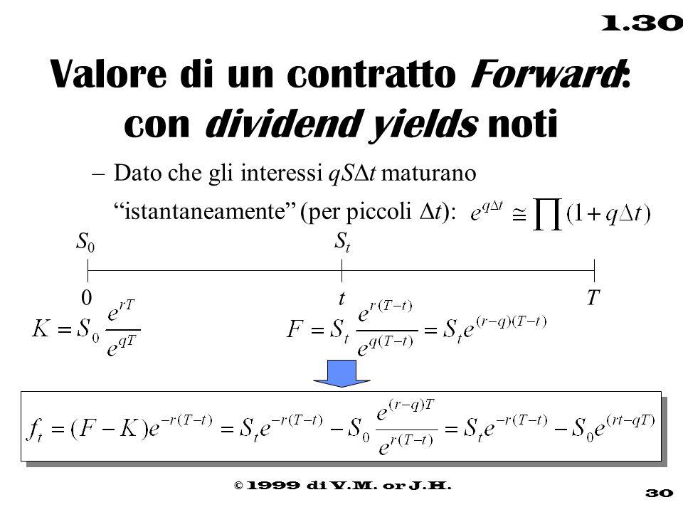 """© 1999 di V.M. or J.H. 30 1.30 Valore di un contratto Forward: con dividend yields noti –Dato che gli interessi qS  t maturano """"istantaneamente"""" (per"""