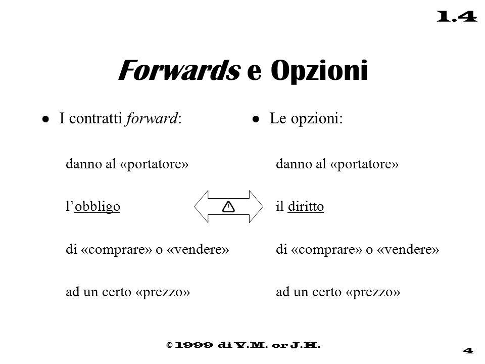 © 1999 di V.M. or J.H. 4 1.4 Forwards e Opzioni l I contratti forward: danno al «portatore» l'obbligo di «comprare» o «vendere» ad un certo «prezzo» l