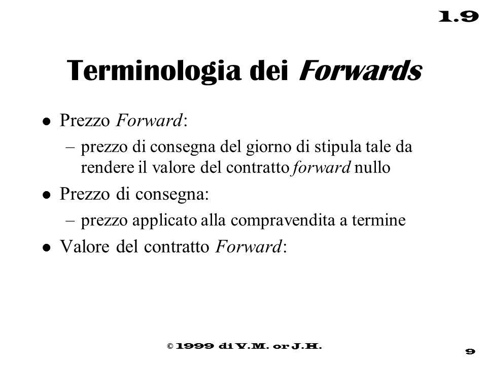 © 1999 di V.M. or J.H. 9 1.9 Terminologia dei Forwards l Prezzo Forward: –prezzo di consegna del giorno di stipula tale da rendere il valore del contr