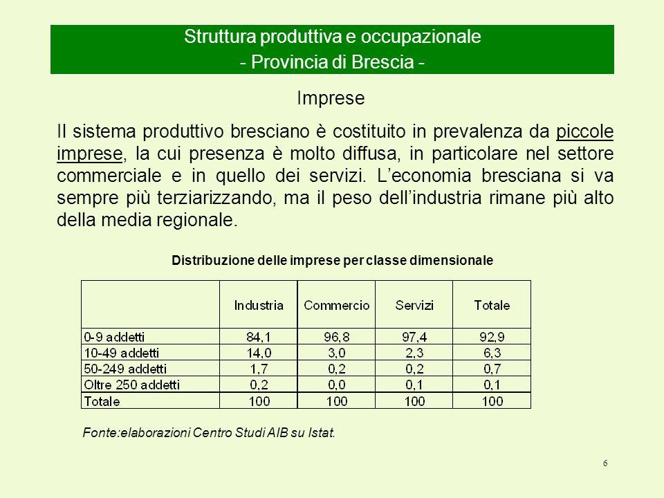 6 Il sistema produttivo bresciano è costituito in prevalenza da piccole imprese, la cui presenza è molto diffusa, in particolare nel settore commerciale e in quello dei servizi.