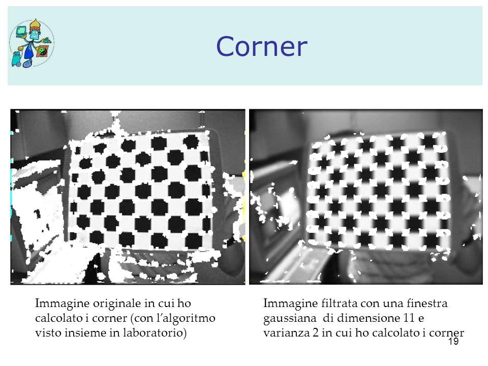 19 Corner Immagine originale in cui ho calcolato i corner (con l'algoritmo visto insieme in laboratorio) Immagine filtrata con una finestra gaussiana di dimensione 11 e varianza 2 in cui ho calcolato i corner