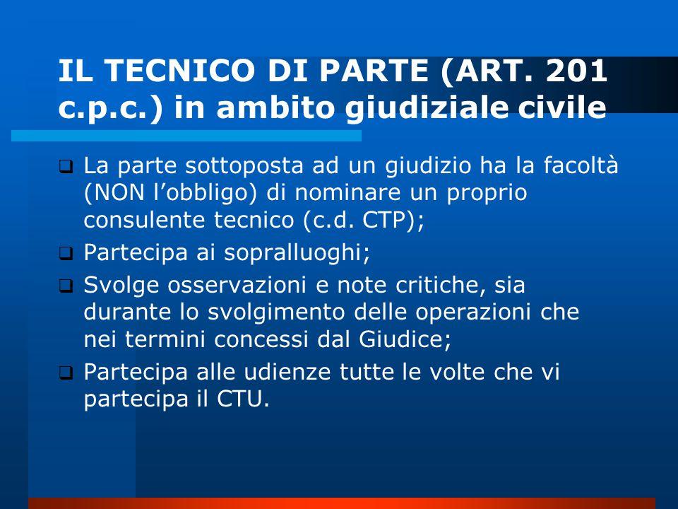IL TECNICO DI PARTE (ART.