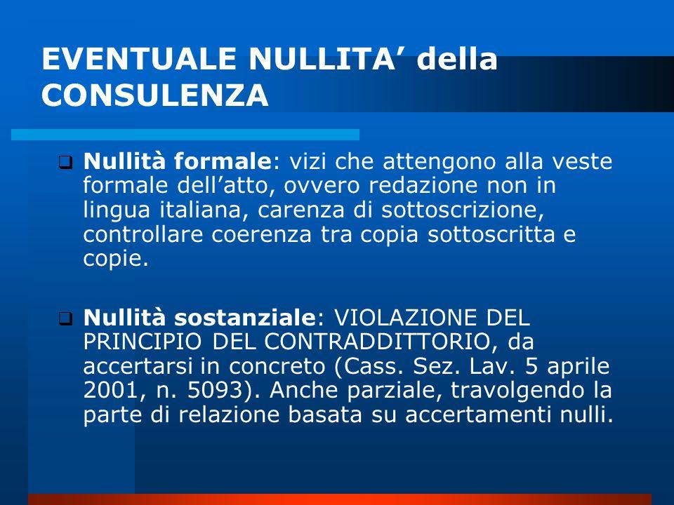 EVENTUALE NULLITA' della CONSULENZA  Nullità formale: vizi che attengono alla veste formale dell'atto, ovvero redazione non in lingua italiana, carenza di sottoscrizione, controllare coerenza tra copia sottoscritta e copie.