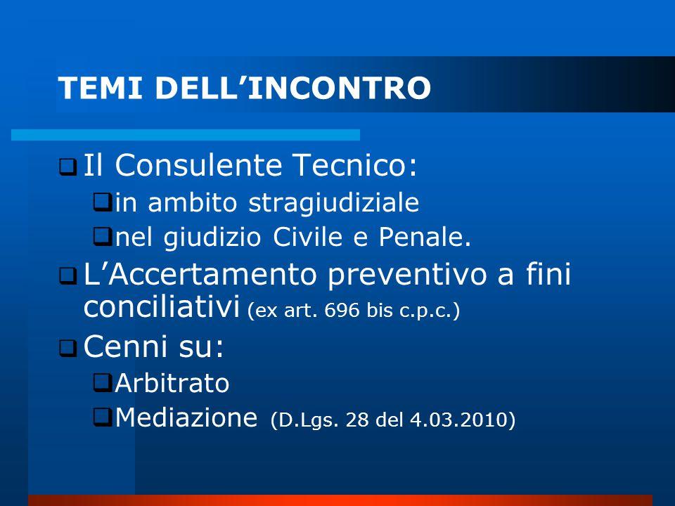 TEMI DELL'INCONTRO  Il Consulente Tecnico:  in ambito stragiudiziale  nel giudizio Civile e Penale.