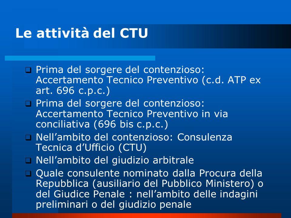 Le attività del CTU  Prima del sorgere del contenzioso: Accertamento Tecnico Preventivo (c.d.