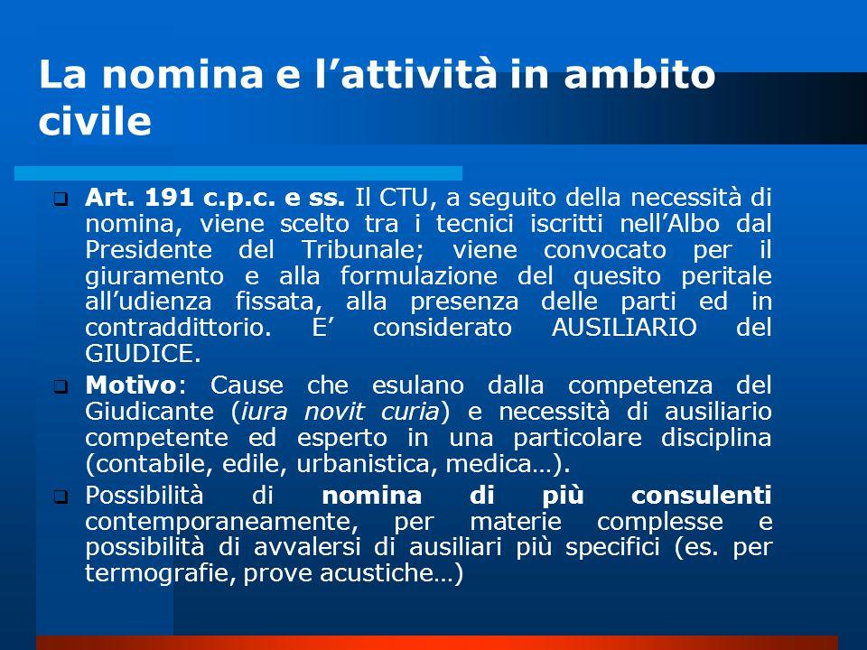 La nomina e l'attività in ambito civile  Art.191 c.p.c.
