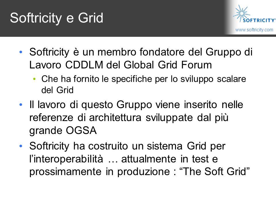 www.softricity.com Softricity e Grid Softricity è un membro fondatore del Gruppo di Lavoro CDDLM del Global Grid Forum Che ha fornito le specifiche per lo sviluppo scalare del Grid Il lavoro di questo Gruppo viene inserito nelle referenze di architettura sviluppate dal più grande OGSA Softricity ha costruito un sistema Grid per l'interoperabilità … attualmente in test e prossimamente in produzione : The Soft Grid