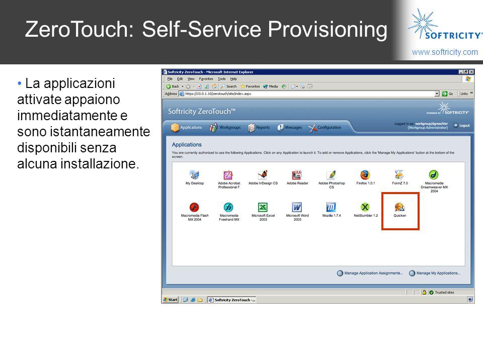 www.softricity.com ZeroTouch: Self-Service Provisioning La applicazioni attivate appaiono immediatamente e sono istantaneamente disponibili senza alcuna installazione.