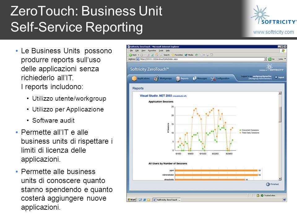 www.softricity.com ZeroTouch: Business Unit Self-Service Reporting Le Business Units possono produrre reports sull'uso delle applicazioni senza richiederlo all'IT.