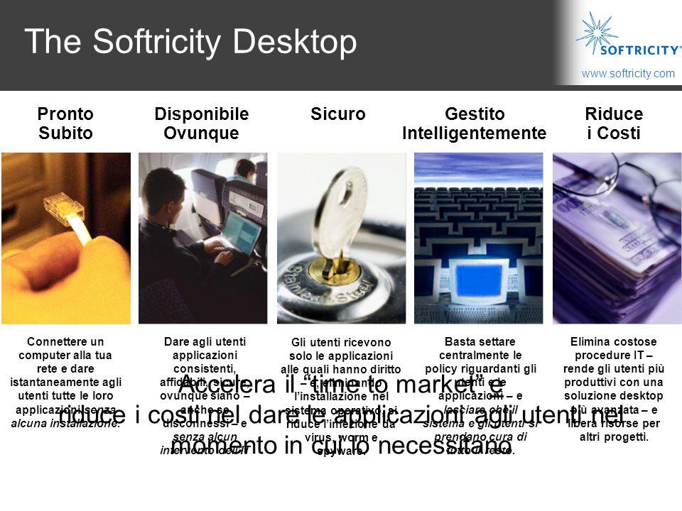 www.softricity.com The Softricity Desktop Connettere un computer alla tua rete e dare istantaneamente agli utenti tutte le loro applicazioni senza alcuna installazione.